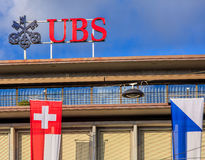 Upper part of the UBS building on Paradeplatz square in Zurich Stock Photography