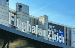 Upper part of the Zurich Airport building Stock Photo