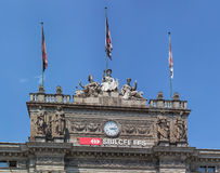 Upper part of the Zurich main railway station building Stock Photos
