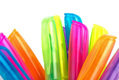 Upper parts of different colred markers Royalty Free Stock Photos