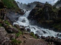 Norway - Upper parts of Langfossen waterfall stock image