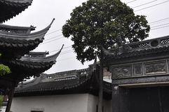 Upper Pavilion Architecture from Yu Garden on downtown of Shanghai stock photography
