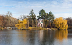 Upper pond in park Sofiyivka. Uman city, Central Ukraine stock photography