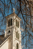 White Church Steeple and Cross Stock Image