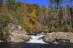 Upper Portion of Linville Falls. Twin set of upper falls of Linville Falls in the Blue Ridge Mountains of North Carolina Royalty Free Stock Photos