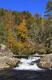 Upper Portion of Linville Falls. Twin set of upper falls of Linville Falls in the Blue Ridge Mountains of North Carolina Stock Photography