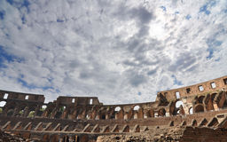 Upper seating area in the Colosseum, Rome. Upper levels were for citizens and poor, while middle and lower levels were for nobles, knights, senators, and the royalty free stock photo