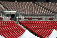 Upper seating at a sports stadium. Looking up at the upper seating at a sports stadium stock images