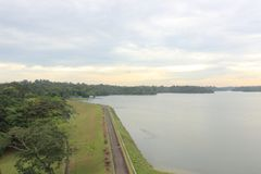 Upper Selatar reservoir in Singapore. A larg drinking water reservoir / lake in Singapore. Urban planning to make the small tropic city state more self reliant Royalty Free Stock Photos