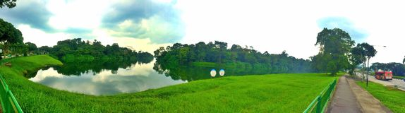 Upper Seletar Reservoir panoramic view Royalty Free Stock Image
