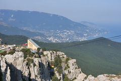 Upper station of Ai-Petri cable car road. Rope way in Yalta leading to the top of Ai-Petri mountain, upper station. Crimea, Ukraine royalty free stock photography
