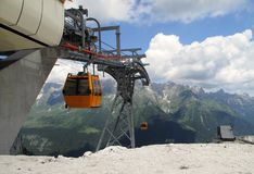 Upper station of cableway near rif Gilberti Stock Images