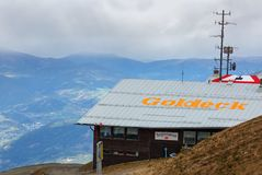 Upper station Pendelbahn of the Goldeck cable car with the restaurant. The Alps, Austria Royalty Free Stock Image