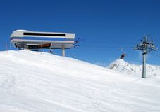 Upper station of the skiing lift. In Scuol, Switzerland Royalty Free Stock Photo