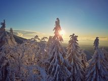 Upper Sunset in mountain landskape. Sunset view in snowy mountain landskape Stock Image