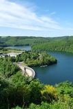 Upper Sure reservoir. Scenic aerial view of Upper Sure lake and reservoir, Esch-sur-Sure, Luxembourg Royalty Free Stock Images