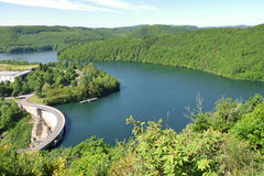 Upper Sure reservoir. Scenic aerial view of Upper Sure lake and reservoir, Esch-sur-Sure, Luxembourg Stock Photos