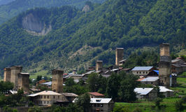 Upper Svaneti, Georgia. Mestia is a highland townlet in northwest Georgia, at an elevation of 1,500 metres in the Caucasus Mountains Stock Image