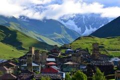 Upper Svaneti, Georgia. Towers in Ushguli, Upper Svaneti, Georgia Stock Photo