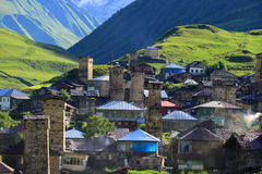 Upper Svaneti, Georgia. Ushguli village. Upper Svaneti - UNESCO World Heritage Stock Images