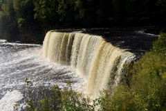 Upper Tahquamenon Falls. This is a Fall picture of the iconic Upper Tahquamenon Falls in Tahquamenon Falls State Park in Paradise, Michigan in Chippewa County royalty free stock photo