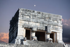 Upper temple of the jaguar. Details on the face of the upper temple of the jaguar which overlooks the great ball court located in chichen itza archeological site Stock Image