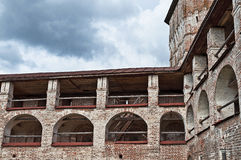 Upper tiers of ancient monastery wall Royalty Free Stock Photo