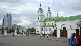 Upper town and Cathedral. MINSK, BELARUS - SEPTEMBER 03, 2016: Upper town and Cathedral in september day. Minsk, Belarus stock video footage