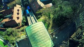 Upper Town Funicular in Zagreb - aerial stock footage