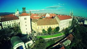 Upper Town Zagreb - aerial stock video footage