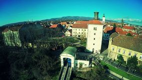 Upper Town Zagreb - aerial stock video