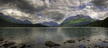 Upper Trail Lake Panorama, Moose Pass Royalty Free Stock Image