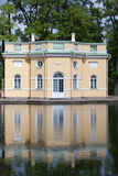 Upper Trough or Mylnya of Their Highnesses pavilion on the bank of the Mirror pond. Catherine Park. Pushkin (Tsarskoye Selo). Pete Stock Images