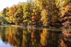 Upper Tsaritsyn pond in autumn. Tsaritsyno Museum-reserve. Moscow. Russia royalty free stock image