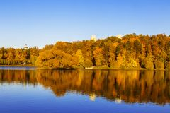 Upper Tsaritsyn pond with island Bird island in autumn at sunset, Moscow stock images
