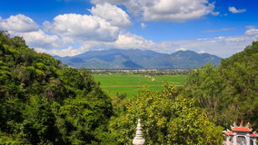 Upper of Valley Landscape Pagoda Hills in Vietnam Clouds Motion. Upper panorama of pagoda Suoi Do tops and valley landscape clouds motion tropical plants in stock video