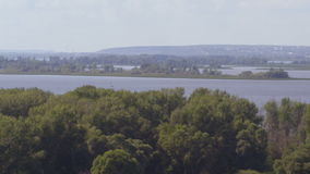 Upper View Boundless Landscape with Large River Forestry Banks stock video