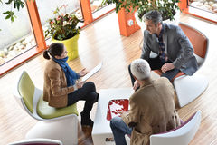 Upper view of business people in the meeting Royalty Free Stock Image