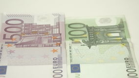 Upper view of the 100 and 500 Euro bill. Showing the details of the two bills stock footage