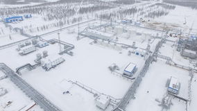 Upper View on Gas Plant Constructions in Winter stock video
