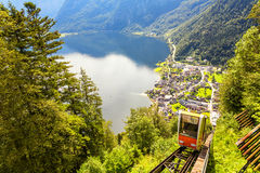 Upper view at Hallstatt Village with cable car cabin , by the Ha. Llein Salt Mine, near Salzburg, Austria Stock Image