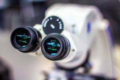 Upper view of microscope Stock Photos