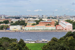 Upper view of the Neva River in St. Petersburg. Top view of the Neva river and the University Embankment with Peter II Palace in St. Petersburg stock photo