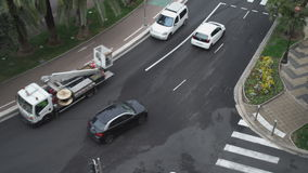 Upper view on the road with mowing cars at summer day in Nice France. stock video