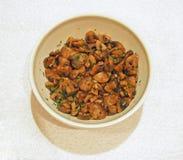 Upper View of Sauteed mushroom side dish stock photos