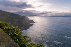 Upper view on spanish atlantic coastline in basque country just before sunset, on mountain monte igueldo, san sebastian, basque co Stock Images
