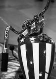 Upper view of a vintage motorcycle. Close up of a beautiful vintage motorcycle,black and white Stock Photography