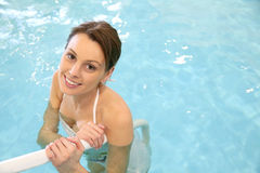 Upper view of a woman in a swimming pool Stock Images