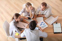 Upper view of young business team working Royalty Free Stock Photos