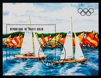 Upper Volta postage stamp shows Olympic Games 1984, Olympic Games Regatta serie, circa 1984 Royalty Free Stock Images